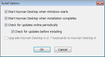 Keyman 8 install options